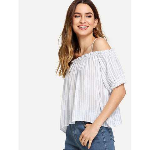 White Cold Shoulder Pinstriped Top