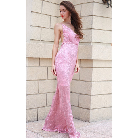 Bridal Dresses - Women's Trendy Pink Sequin Cocktail Dress