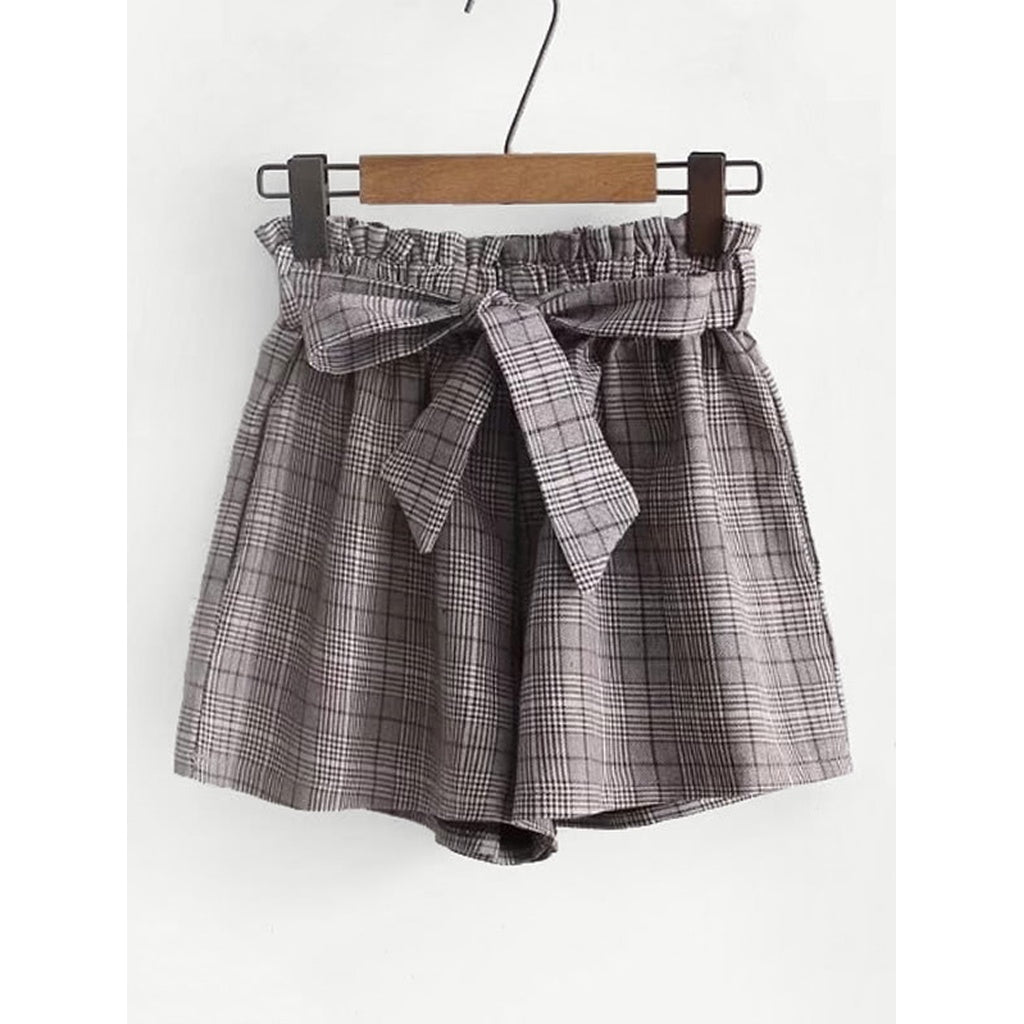 Frill Waist Plaid Shorts With Belt - Fashiontage