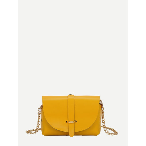 Yellow Metal Detail Flap Pu Chain Bag