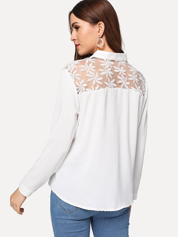 Shirts - Women's Trendy White Lace Contrast Floral Print Embroidered Shirt