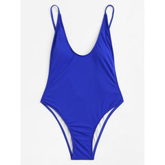 Blue Plain Swimsuit - Fashiontage