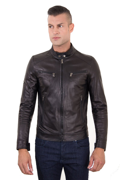Black Genuine Leather Biker Jacket