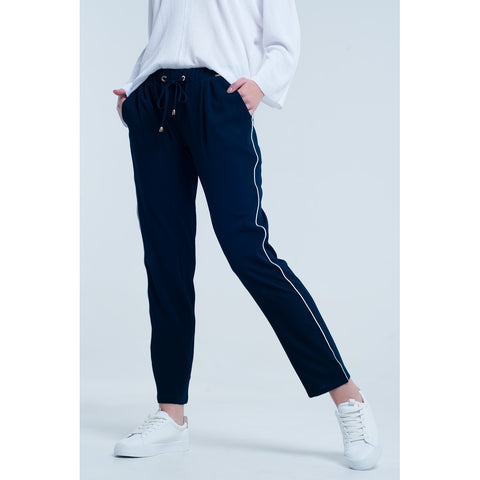 Cropped Pants - Women's Trendy White Line