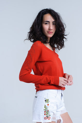 Orange V-Neck Long Sleeve Sweater