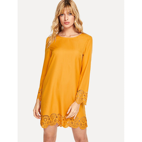 Day Dresses - Women's Trendy Yellow Scallop Edge Laser Cut Dress