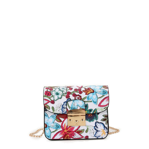 Flower Embroidery PU Flap Shouler Bag - Fashiontage