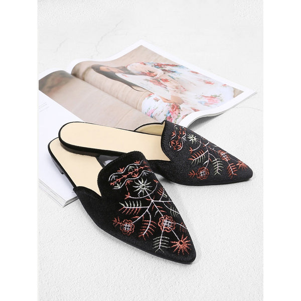 Black Velvet Pointed Toe Embroidered Mules