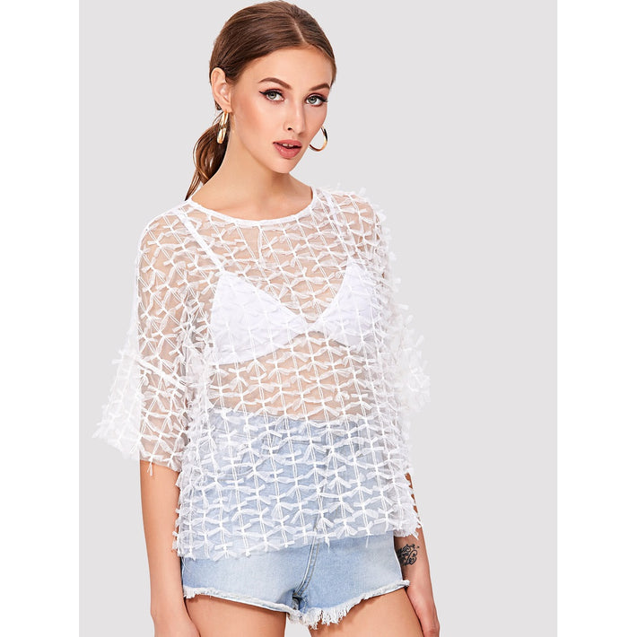 Allover Knot Detail Mesh Top - Fashiontage