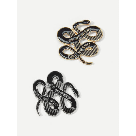Black Snaked Shaped Brooch Set 2pcs