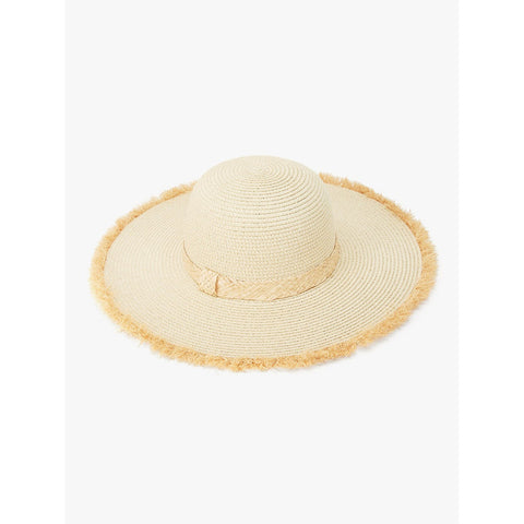 Camel Raw Edge Straw Hat