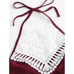Crochet Lace Insert Halter Swimsuit - Fashiontage