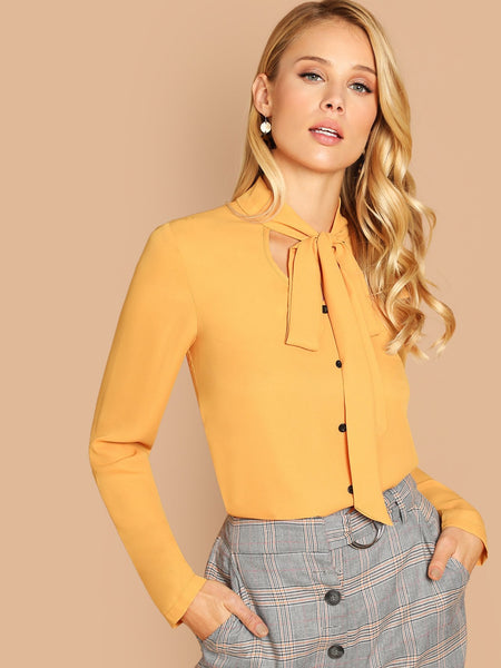 Yellow Single Breasted V-Neck Solid Top