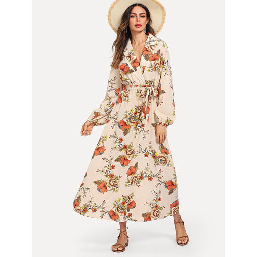 Apricot Lantern Sleeve Wrap Floral Print Maxi Dress