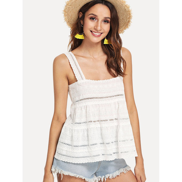 White Eyelet Embroidery Tiered Tank Top