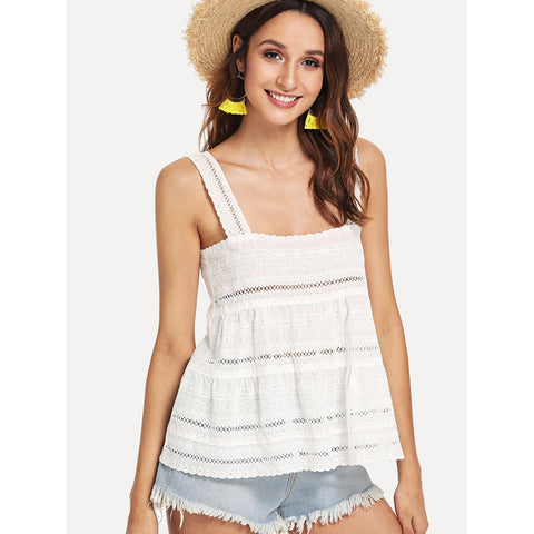 Shirts & Jersey Shirts - Women's Trendy White Eyelet Embroidery Tiered Tank Top