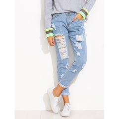 Extreme Distressed Roll Hem Jeans - Fashiontage