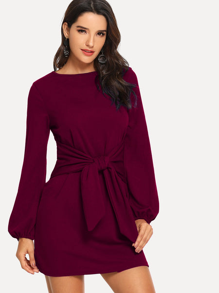 Rust Knot Waist Solid Dress