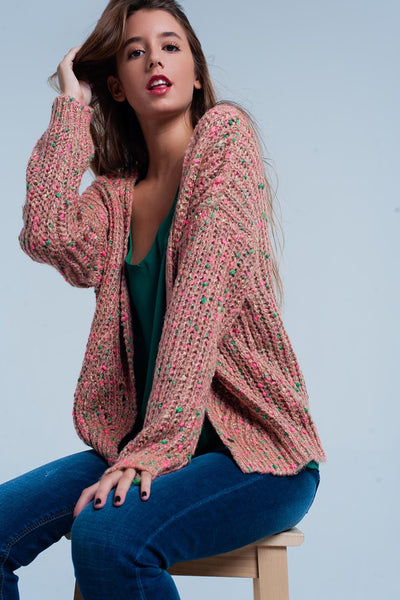 Women - Pink Chunky Fleck Knit Cardigan Green Detail