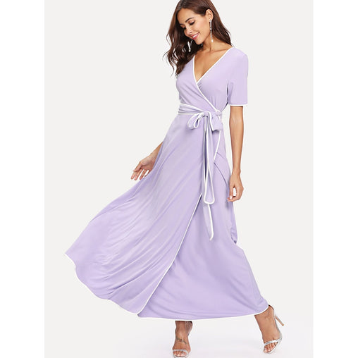 Purple Contrast Binding Belted Wrap Dress