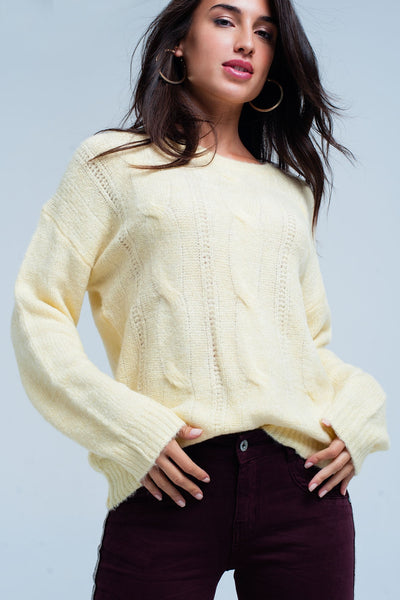 Yellow Crew Neck Relaxed Fit Sweater