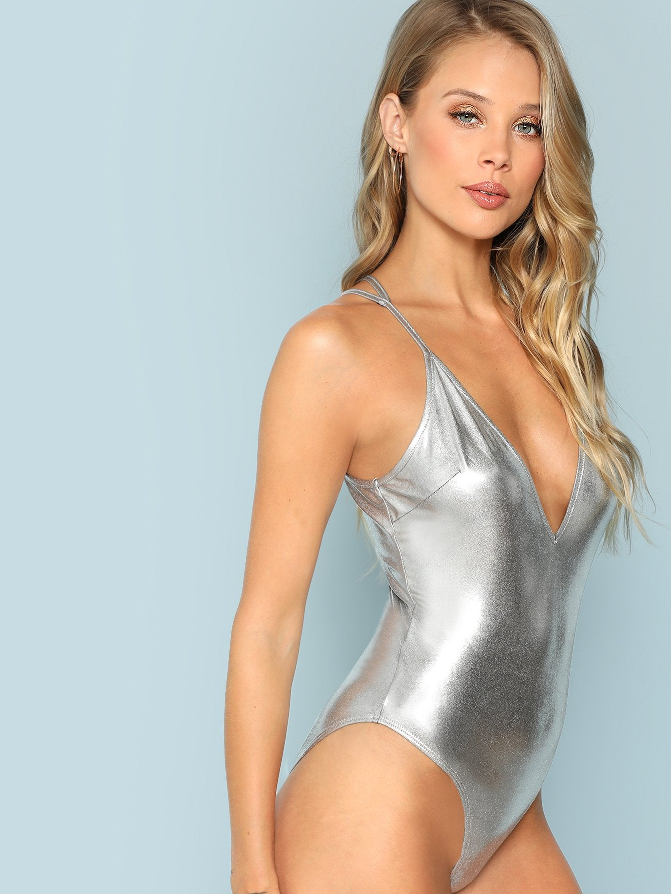 febef47cb920 Bodysuits - Women s Silver Plunge Neck Cami Bodysuit at Fashiontage ...