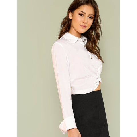 White Twist Hem Button Front Crop Blouse
