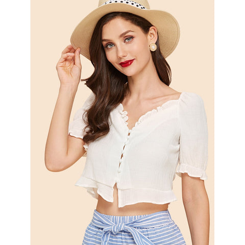 Blouses - Women's Trendy White Frill Hem Crop Top