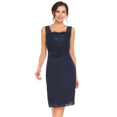 Casual Dresses - Women's Trendy Navy Blue Collar Sleeveless Sheath Dress