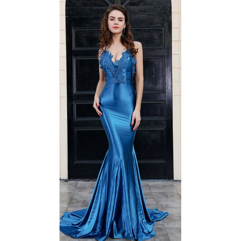 Blue V Neck Evening Gown