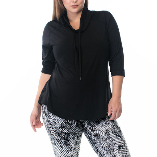 Black Cowl Neck 3/4 Sleeve Pullover Top