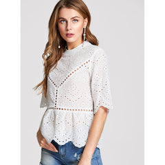 White Stand Collar Half Sleeve Flared Top - Fashiontage