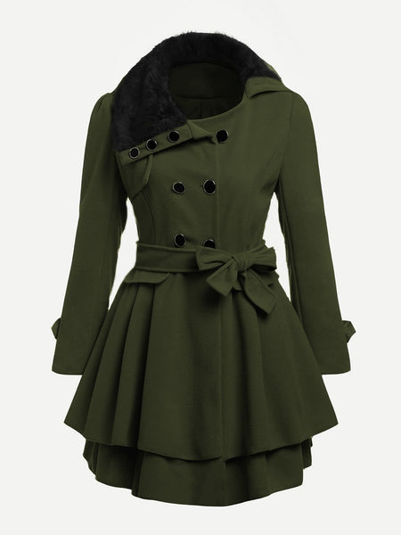 Army Green Faux Fur Collar Double Layered Hem Coat