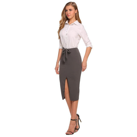 Asymmetric & Draped Skirts - Women's Trendy Black Split Midi Pencil Skirt