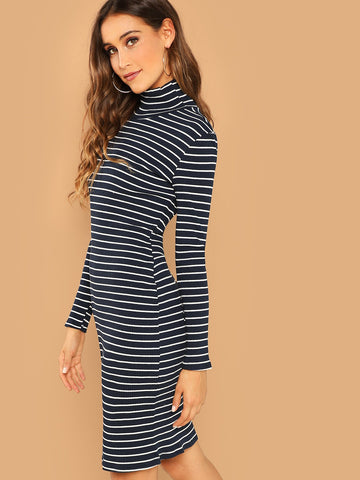 Day Dresses - Women's Trendy Navy Mock Neck Rib Knit Striped Dress