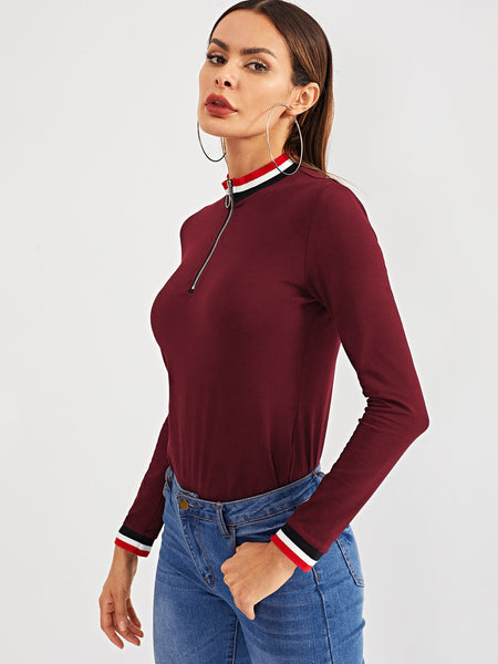 Burgundy Zip Up Mock-neck Striped T-Shirt
