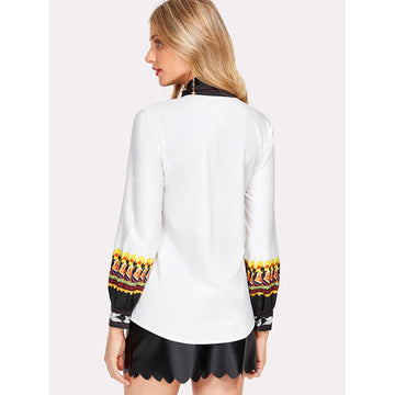 Multicolor Tie Neck Long Sleeve Blouse - Fashiontage