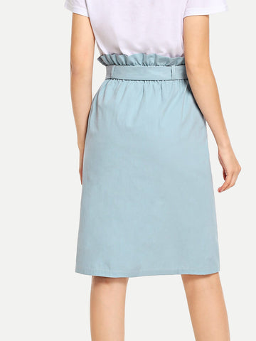 Skirts - Women's Trendy Blue Waist Belted Button Ruffle Split Skirt