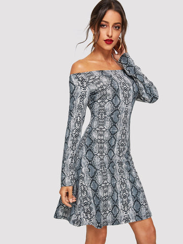 Day Dresses - Women's Trendy Multicolor Snake Skin Print Off Shoulder Dress