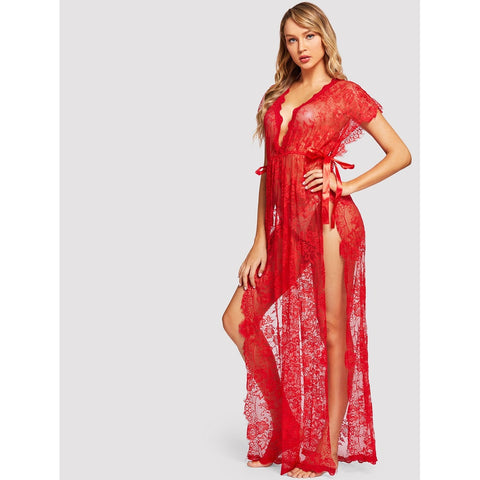 Bras - Women's Trendy Red Floral Print Lace High Split Dress With Thong