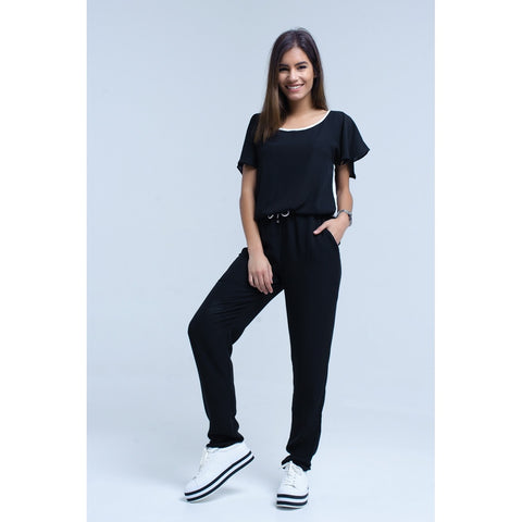 Jumpsuits - Women's Trendy Black Round Neck Short Sleeve Jumpsuit
