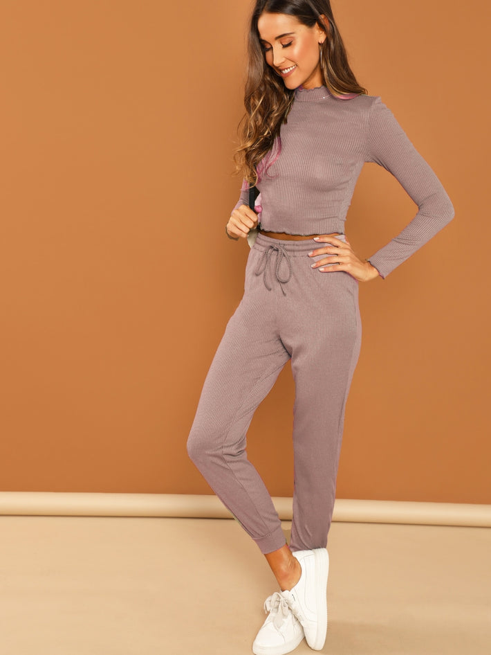 Purple Fitted Crop Top & Pant Set