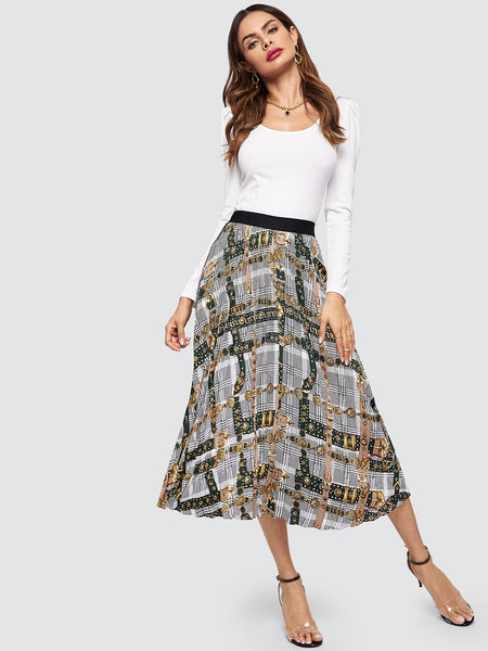Wide Waistband Mixed Print Maxi Skirt