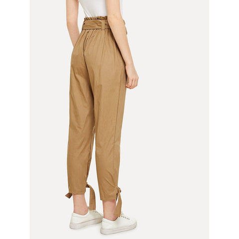 Tapered Pants - Women's Trendy Khaki Mid Waist Plain Tapered Carrot Crop Pant