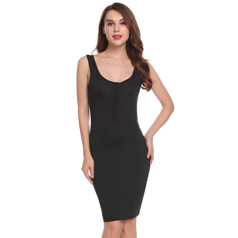 Cocktail & Party Dresses - Women's Trendy Black Scoop Neck Sleeveless Party Dress