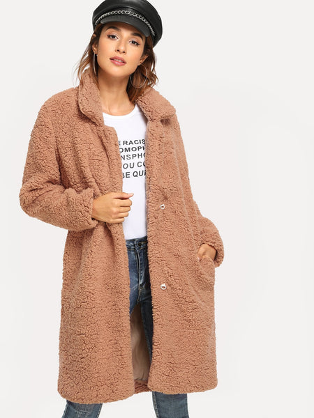 Plus Size Camel Multicolor Plaid Boxy Coat