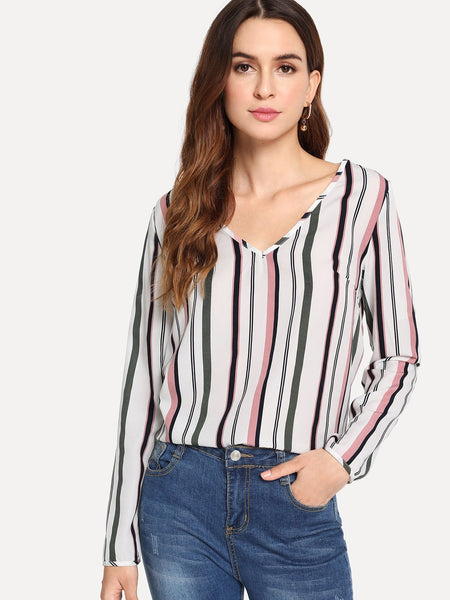 Long Sleeve V Neck Striped Print Top