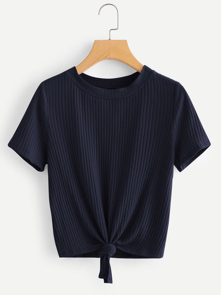 Navy Blue Knot Front Solid Ribbed T-Shirt