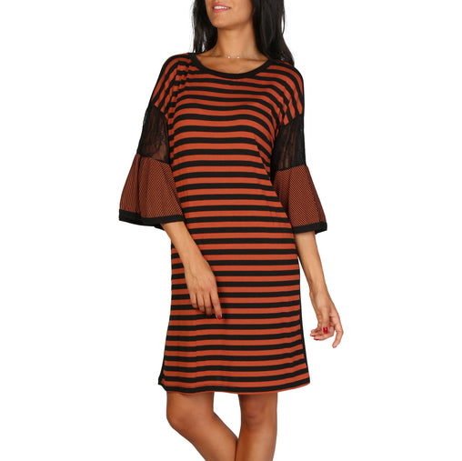 Lokita Brown Sleeves Striped Dress