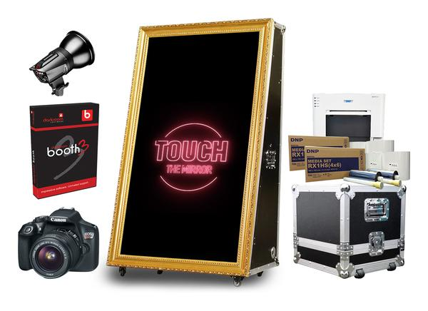 "Mirror Beauty Road Case 65"" Mirror Booth Premium Package"